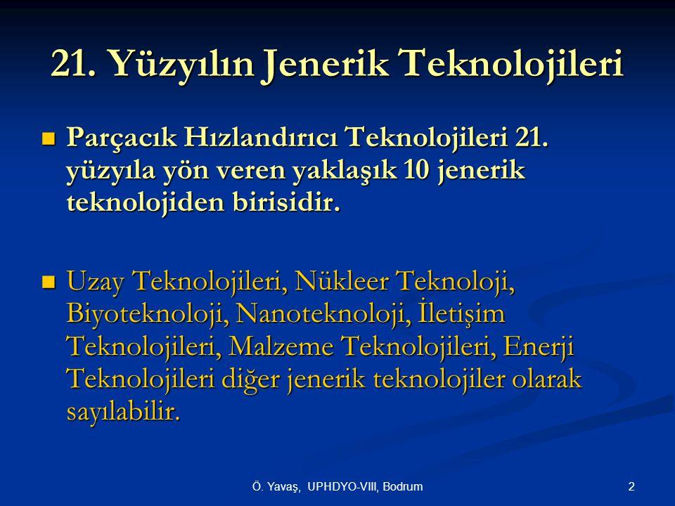 2 21. Yüzyılın Jenerik Teknolojileri  Parçacık Hızlandırıcı Teknolojileri 21. yüzyıla yön veren yaklaşık 10 jenerik teknolojiden birisidir.  Uzay Te