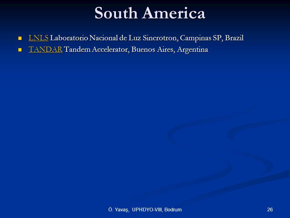South America  LNLS Laboratorio Nacional de Luz Sincrotron, Campinas SP, Brazil LNLS  TANDAR Tandem Accelerator, Buenos Aires, Argentina TANDAR 26Ö.