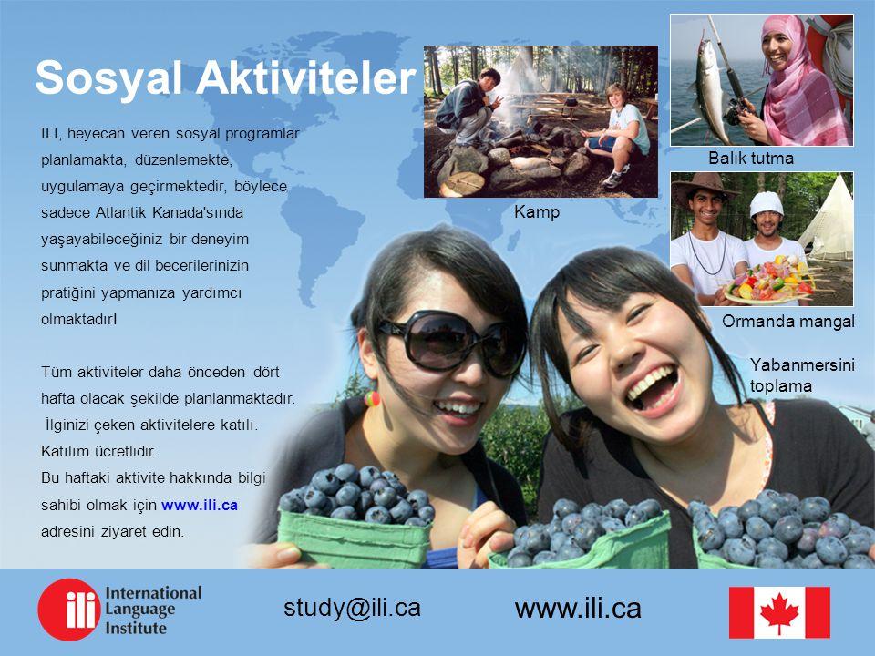 www.ili.ca study@ili.ca Sosyal Aktiviteler ILI, heyecan veren sosyal programlar planlamakta, düzenlemekte, uygulamaya geçirmektedir, böylece sadece Atlantik Kanada sında yaşayabileceğiniz bir deneyim sunmakta ve dil becerilerinizin pratiğini yapmanıza yardımcı olmaktadır.