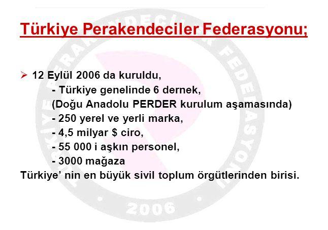 Türkiye Perakendeciler Federasyonu;  12 Eylül 2006 da kuruldu, - Türkiye genelinde 6 dernek, (Doğu Anadolu PERDER kurulum aşamasında) - 250 yerel ve yerli marka, - 4,5 milyar $ ciro, - 55 000 i aşkın personel, - 3000 mağaza Türkiye' nin en büyük sivil toplum örgütlerinden birisi.