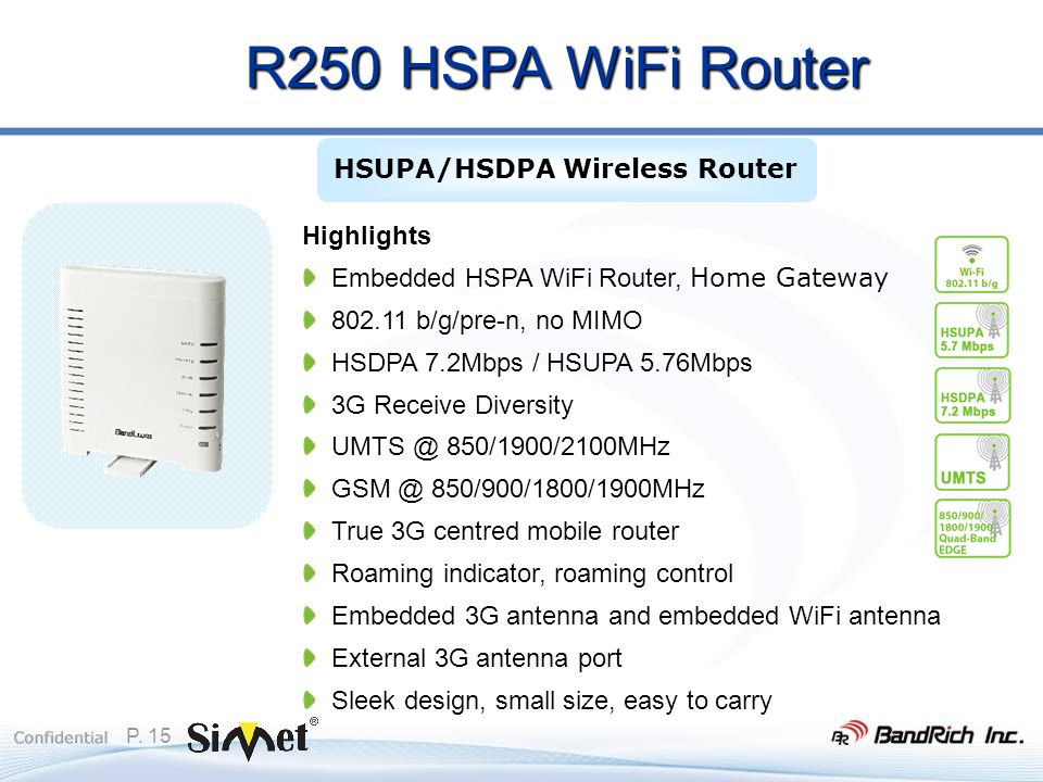P. 15 Highlights Embedded HSPA WiFi Router, Home Gateway 802.11 b/g/pre-n, no MIMO HSDPA 7.2Mbps / HSUPA 5.76Mbps 3G Receive Diversity UMTS @ 850/1900