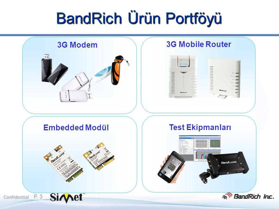 P. 3 BandRich Ürün Portföyü 3G Modem 3G Mobile Router Test Ekipmanları Embedded Modül