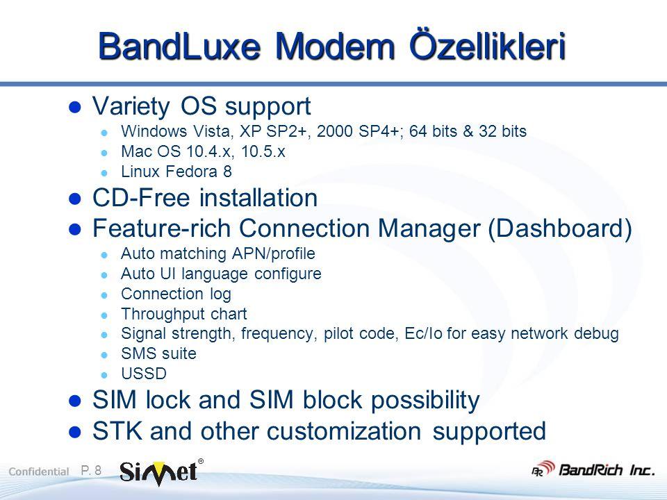 P. 8 BandLuxe Modem Özellikleri  Variety OS support  Windows Vista, XP SP2+, 2000 SP4+; 64 bits & 32 bits  Mac OS 10.4.x, 10.5.x  Linux Fedora 8 