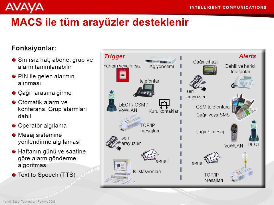 8 Yetkili Satıcı Toplantısı – Fethiye 2008 MACS ile tüm arayüzler desteklenir Trigger Alerts İş istasyonları e-mail seri arayüzler Yangın veya hırsız