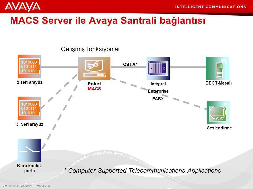 9 Yetkili Satıcı Toplantısı – Fethiye 2008 MACS Server ile Avaya Santrali bağlantısı Paket MACS Kuru kontak portu Seslendirme 2 seri arayüz Integral Enterprise PABX 3.