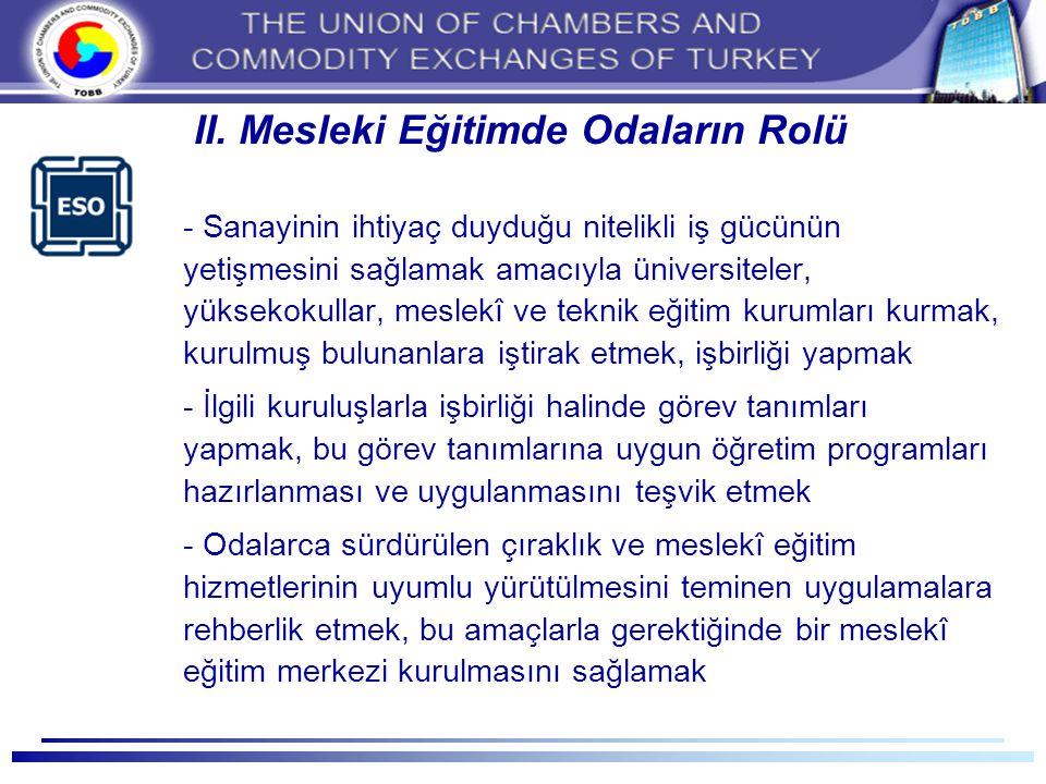 II. Mesleki Eğitimde Odaların Rolü - Sanayinin ihtiyaç duyduğu nitelikli iş gücünün yetişmesini sağlamak amacıyla üniversiteler, yüksekokullar, meslek