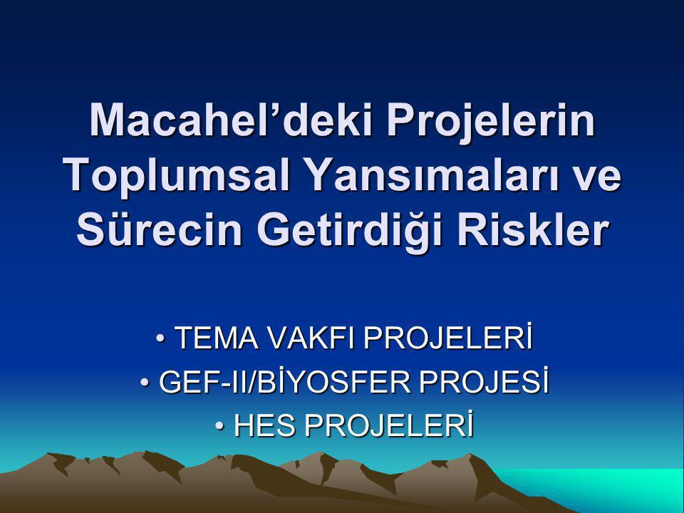 Macahel'deki Projelerin Toplumsal Yansımaları ve Sürecin Getirdiği Riskler • TEMA VAKFI PROJELERİ • GEF-II/BİYOSFER PROJESİ • HES PROJELERİ