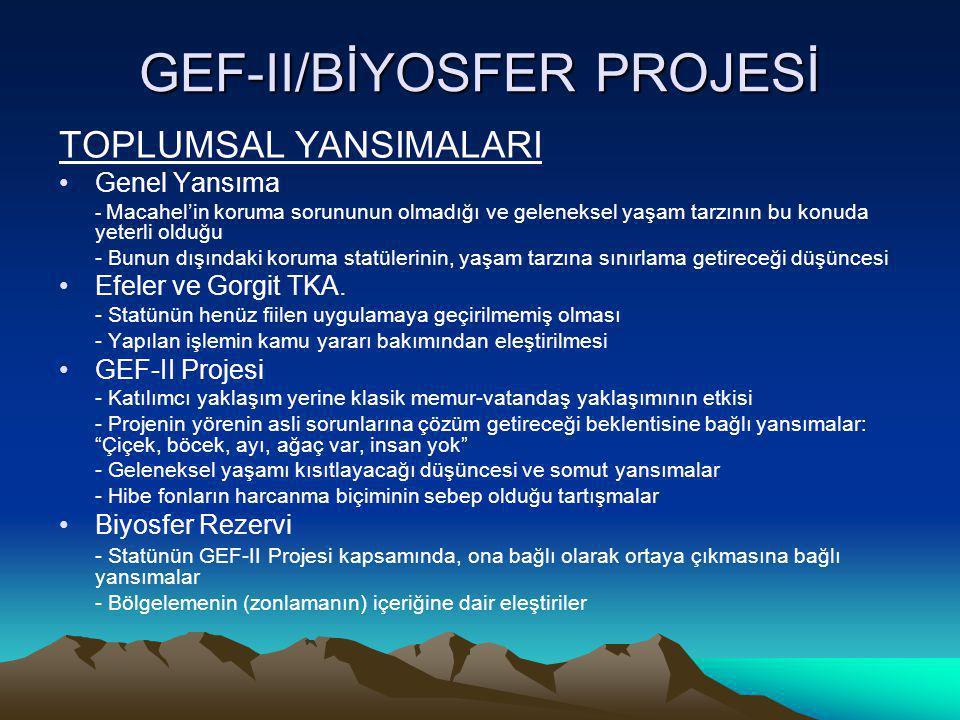 GEF-II/BİYOSFER PROJESİ RİSKLER •Efeler ve Gorgit TKA.