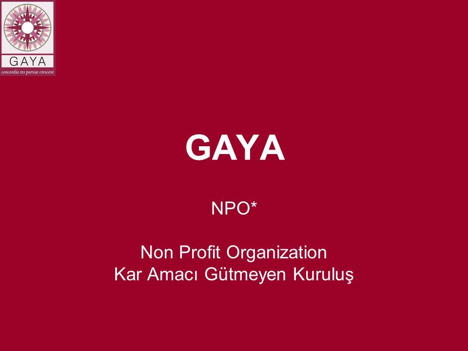 GAYA NPO* Non Profit Organization Kar Amacı Gütmeyen Kuruluş