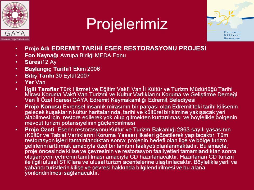 Projelerimiz •Proje Adı EDREMİT TARİHİ ESER RESTORASYONU PROJESİ •Fon Kaynağı Avrupa Birliği MEDA Fonu •Süresi12 Ay •Başlangıç Tarihi1 Ekim 2006 •Biti