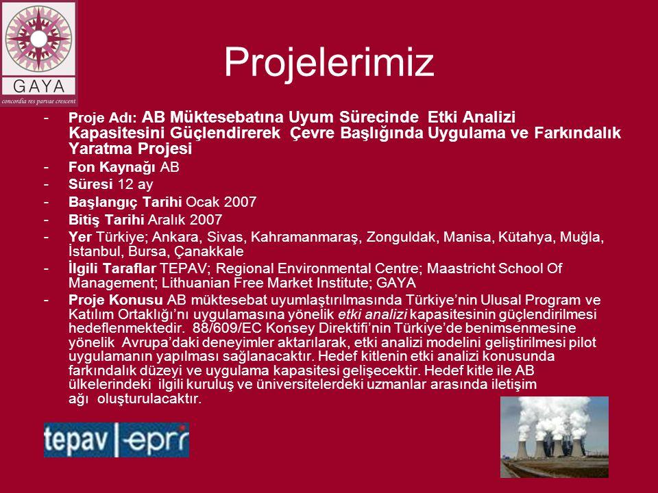 Projelerimiz -Proje Adı: AB Müktesebatına Uyum Sürecinde Etki Analizi Kapasitesini Güçlendirerek Çevre Başlığında Uygulama ve Farkındalık Yaratma Projesi -Fon Kaynağı AB -Süresi 12 ay -Başlangıç Tarihi Ocak 2007 -Bitiş Tarihi Aralık 2007 -Yer Türkiye; Ankara, Sivas, Kahramanmaraş, Zonguldak, Manisa, Kütahya, Muğla, İstanbul, Bursa, Çanakkale -İlgili Taraflar TEPAV; Regional Environmental Centre; Maastricht School Of Management; Lithuanian Free Market Institute; GAYA -Proje Konusu AB müktesebat uyumlaştırılmasında Türkiye'nin Ulusal Program ve Katılım Ortaklığı'nı uygulamasına yönelik etki analizi kapasitesinin güçlendirilmesi hedeflenmektedir.
