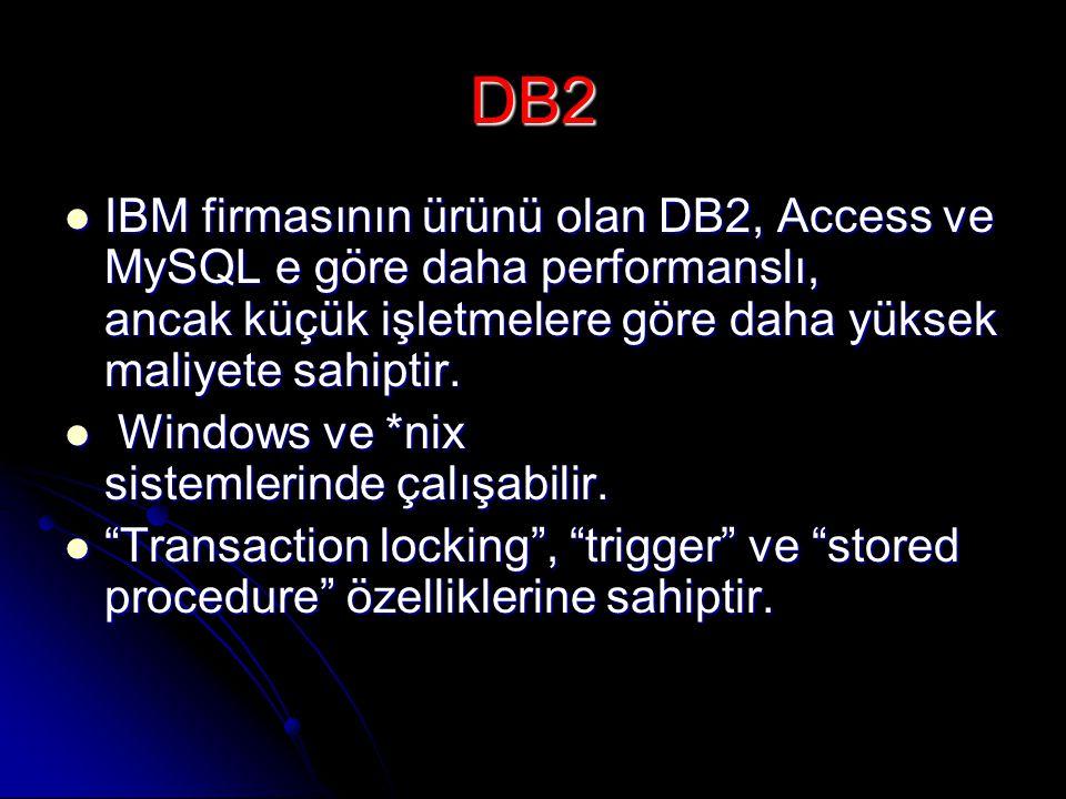 DB2  IBM firmasının ürünü olan DB2, Access ve MySQL e göre daha performanslı, ancak küçük işletmelere göre daha yüksek maliyete sahiptir.  Windows v