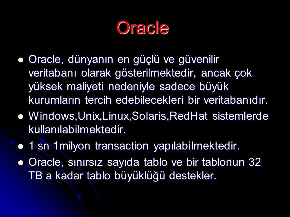 Oracle  Oracle, dünyanın en güçlü ve güvenilir veritabanı olarak gösterilmektedir, ancak çok yüksek maliyeti nedeniyle sadece büyük kurumların tercih