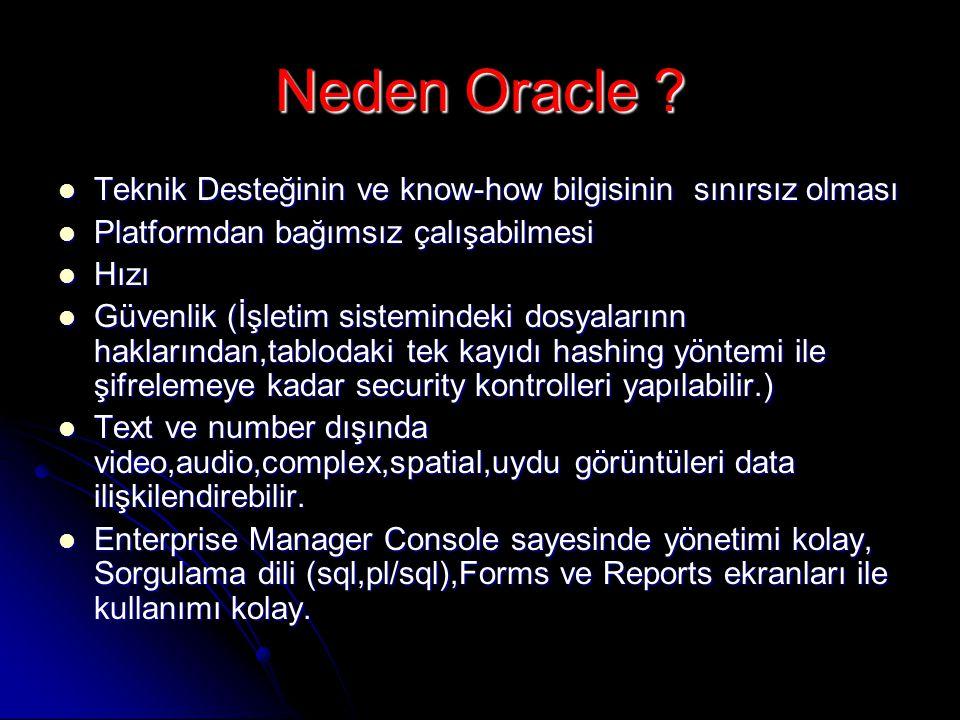 Neden Oracle ?  Teknik Desteğinin ve know-how bilgisinin sınırsız olması  Platformdan bağımsız çalışabilmesi  Hızı  Güvenlik (İşletim sistemindeki