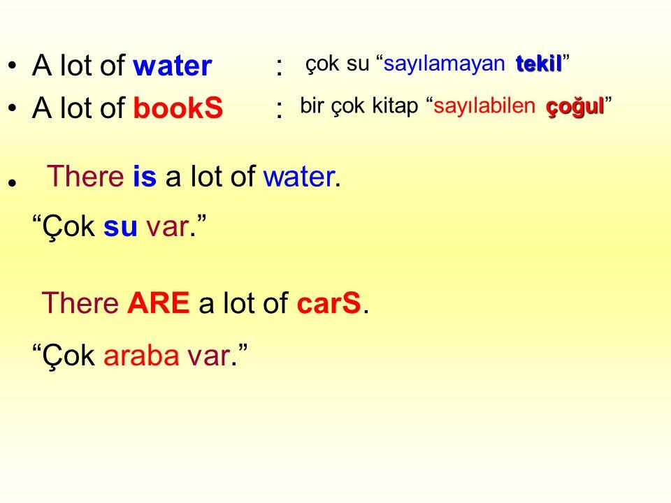 •A lot of water: •A lot of bookS: • Çok su var. Çok araba var. tekil çok su sayılamayan tekil çoğul bir çok kitap sayılabilen çoğul There is a lot of water.