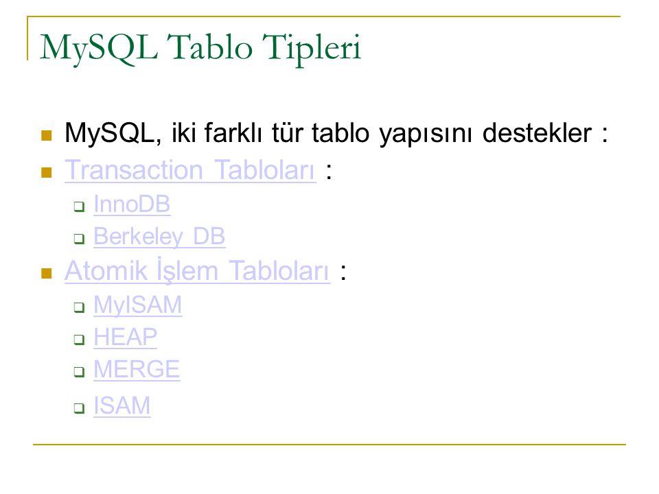 MySQL Tablo Tipleri  MySQL, iki farklı tür tablo yapısını destekler :  Transaction Tabloları : Transaction Tabloları  InnoDB InnoDB  Berkeley DB B