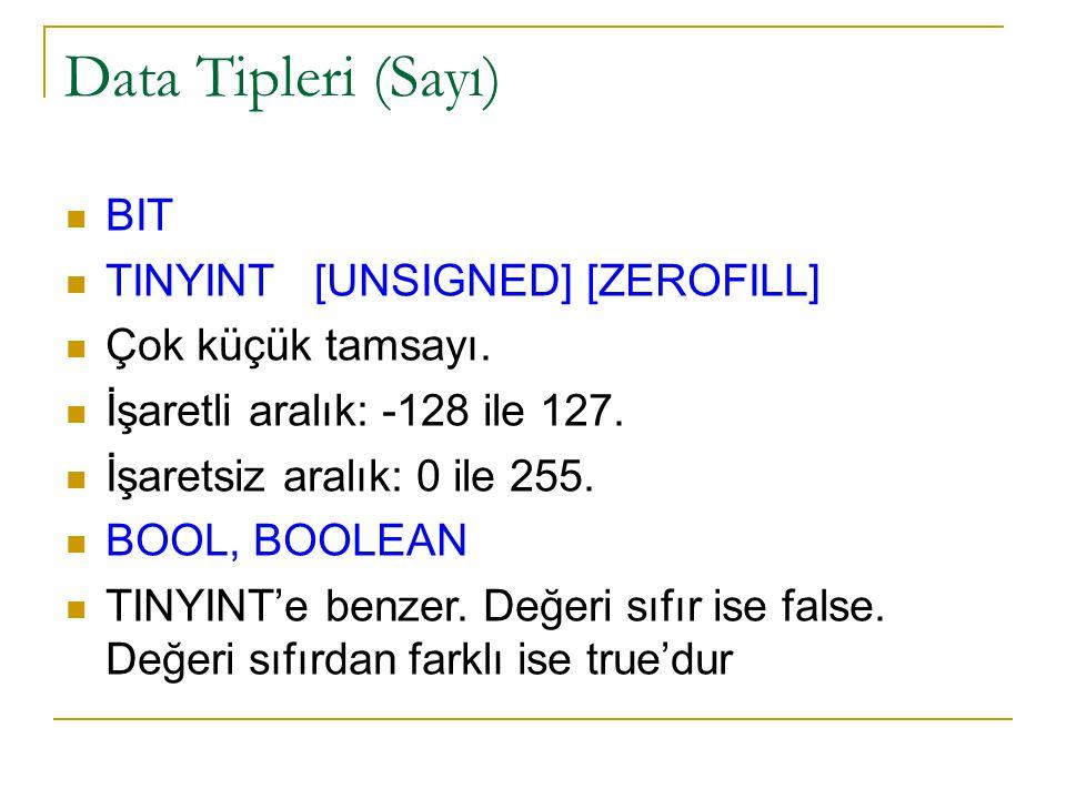 Data Tipleri (Sayı)   BIT  TINYINT [UNSIGNED] [ZEROFILL]  Çok küçük tamsayı.  İşaretli aralık: -128 ile 127.  İşaretsiz aralık: 0 ile 255.  BOO