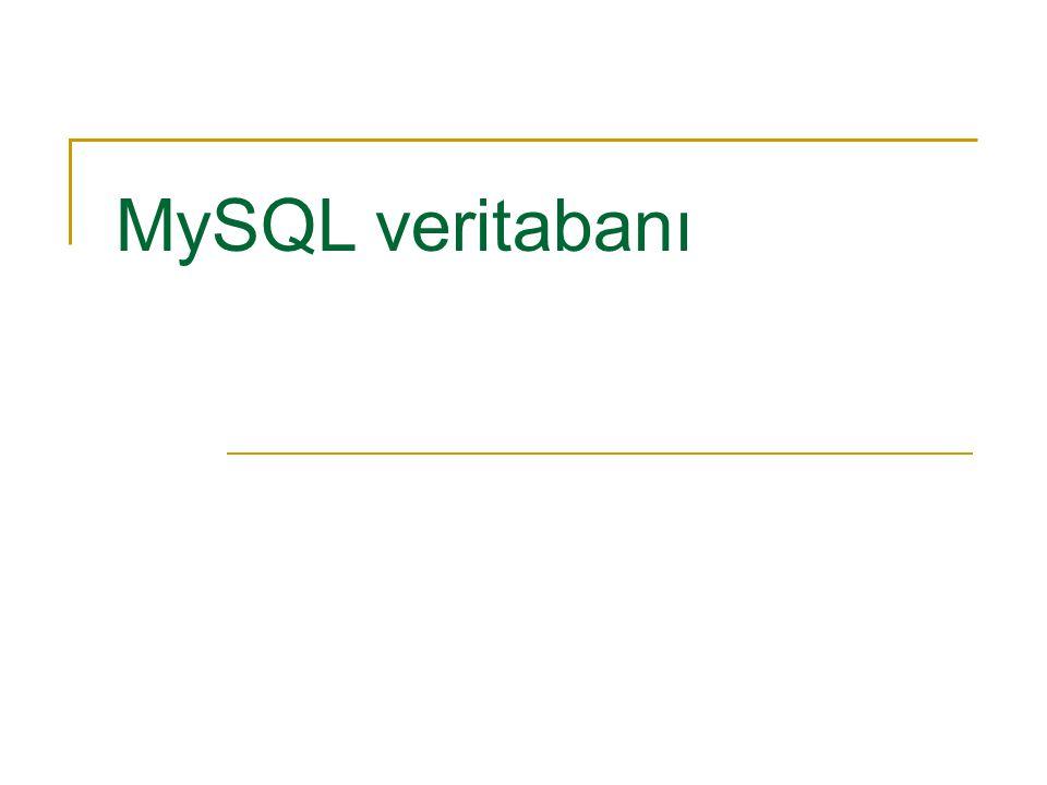 MySQL veritabanı