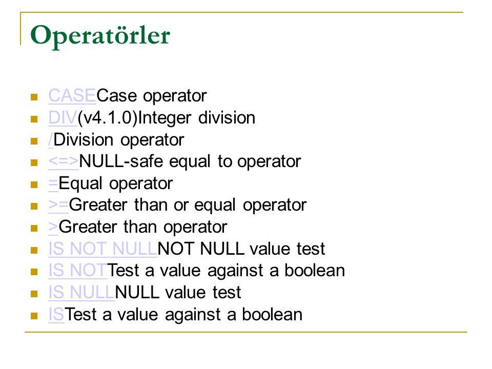 Operatörler  CASECase operator CASE  DIV(v4.1.0)Integer division DIV  /Division operator /  NULL-safe equal to operator  =Equal operator =  >=Gr