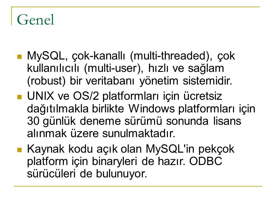 Genel  MySQL, çok-kanallı (multi-threaded), çok kullanılıcılı (multi-user), hızlı ve sağlam (robust) bir veritabanı yönetim sistemidir.  UNIX ve OS/