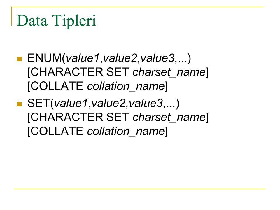 Data Tipleri  ENUM(value1,value2,value3,...) [CHARACTER SET charset_name] [COLLATE collation_name]  SET(value1,value2,value3,...) [CHARACTER SET cha