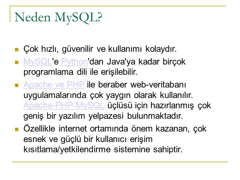 Neden MySQL?  Çok hızlı, güvenilir ve kullanımı kolaydır.  MySQL'e Python'dan Java'ya kadar birçok programlama dili ile erişilebilir. MySQLPython 