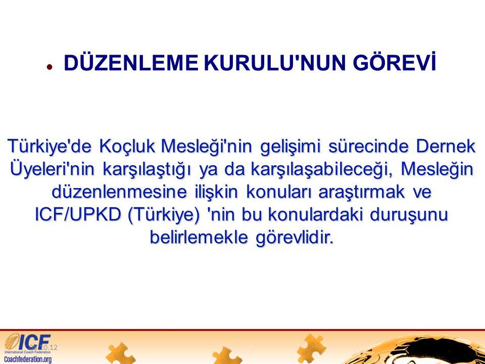 08.10.12 Türkiye de Koçluk Mesleği nin gelişimi sürecinde Dernek Üyeleri nin karşılaştığı ya da karşılaşabileceği, Mesleğin düzenlenmesine ilişkin konuları araştırmak ve ICF/UPKD (Türkiye) nin bu konulardaki duruşunu belirlemekle görevlidir.