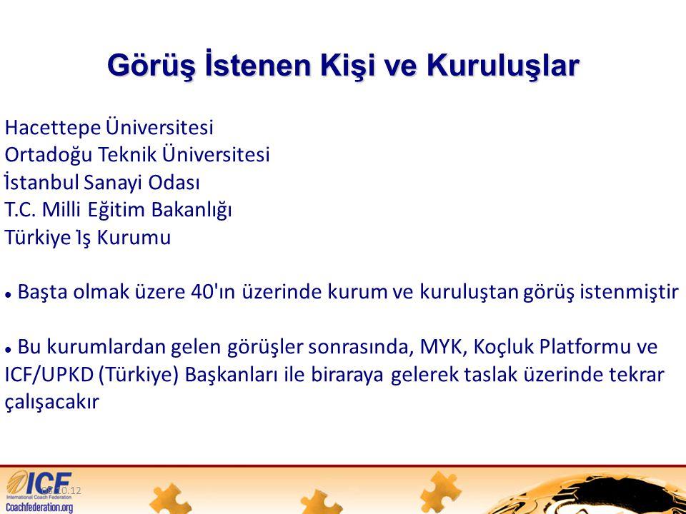 08.10.12 Görüş İstenen Kişi ve Kuruluşlar Hacettepe Üniversitesi Ortadoğu Teknik Üniversitesi İ̇stanbul Sanayi Odası T.C.