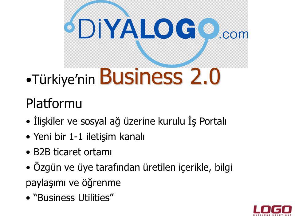 Business 2.0 •Türkiye'nin Business 2.0 Platformu • İlişkiler ve sosyal ağ üzerine kurulu İş Portalı • Yeni bir 1-1 iletişim kanalı • B2B ticaret ortamı • Özgün ve üye tarafından üretilen içerikle, bilgi paylaşımı ve öğrenme • Business Utilities