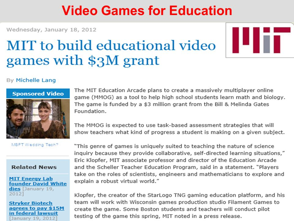 Video Games for Education 9