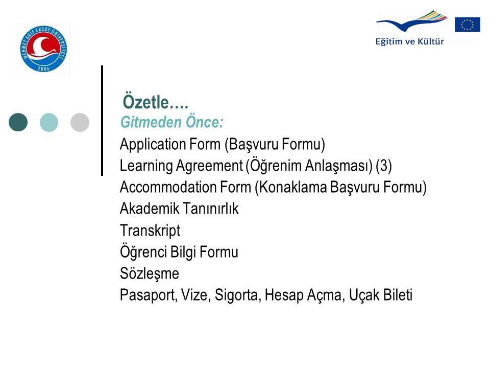 Özetle…. Gitmeden Önce: Application Form (Başvuru Formu) Learning Agreement (Öğrenim Anlaşması) (3) Accommodation Form (Konaklama Başvuru Formu) Akade