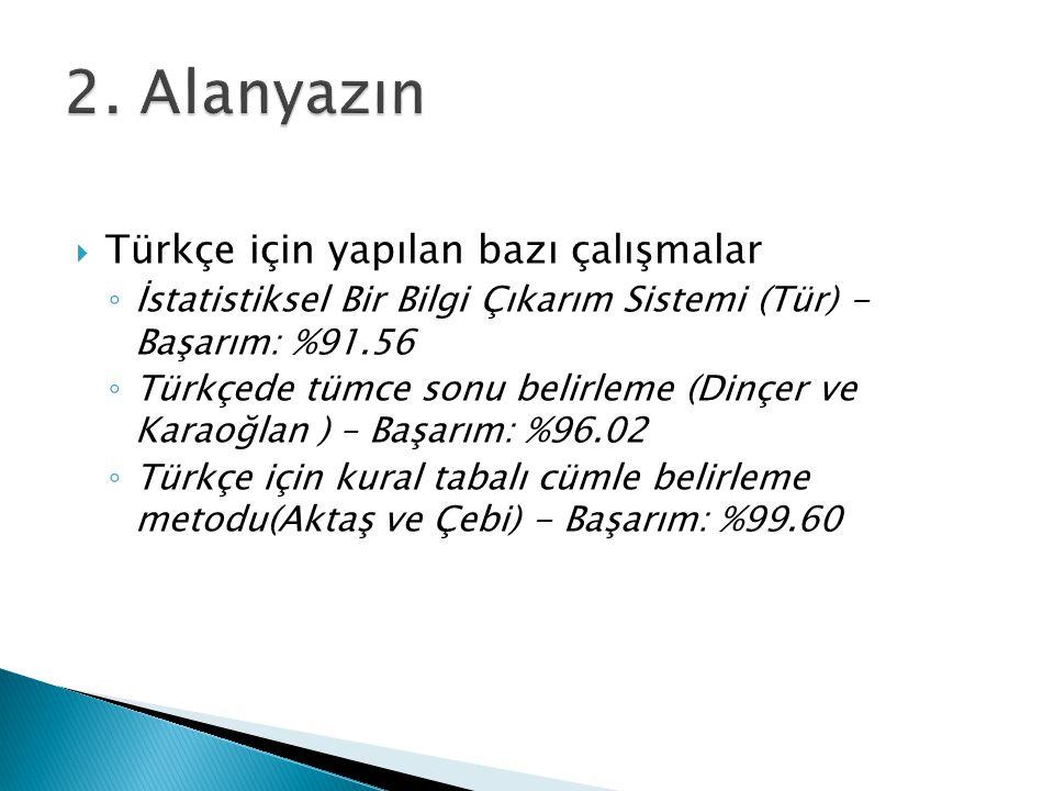  Türkçe için yapılan bazı çalışmalar ◦ İstatistiksel Bir Bilgi Çıkarım Sistemi (Tür) - Başarım: %91.56 ◦ Türkçede tümce sonu belirleme (Dinçer ve Kar