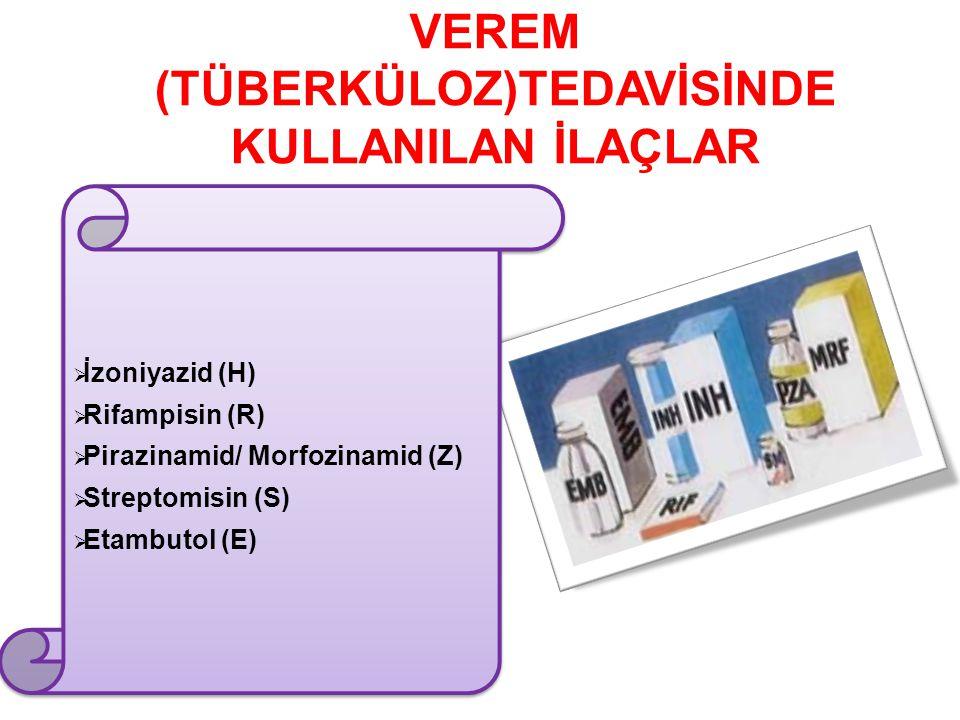 VEREM (TÜBERKÜLOZ)TEDAVİSİNDE KULLANILAN İLAÇLAR  İzoniyazid (H)  Rifampisin (R)  Pirazinamid/ Morfozinamid (Z)  Streptomisin (S)  Etambutol (E)  İzoniyazid (H)  Rifampisin (R)  Pirazinamid/ Morfozinamid (Z)  Streptomisin (S)  Etambutol (E)