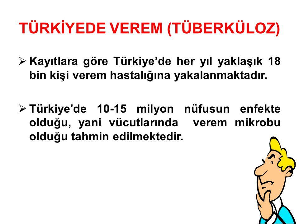 TÜRKİYEDE VEREM (TÜBERKÜLOZ)  Kayıtlara göre Türkiye'de her yıl yaklaşık 18 bin kişi verem hastalığına yakalanmaktadır.
