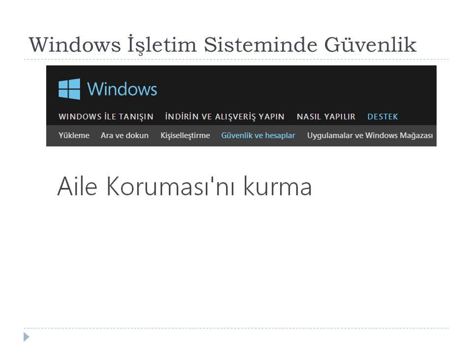 Windows İşletim Sisteminde Güvenlik