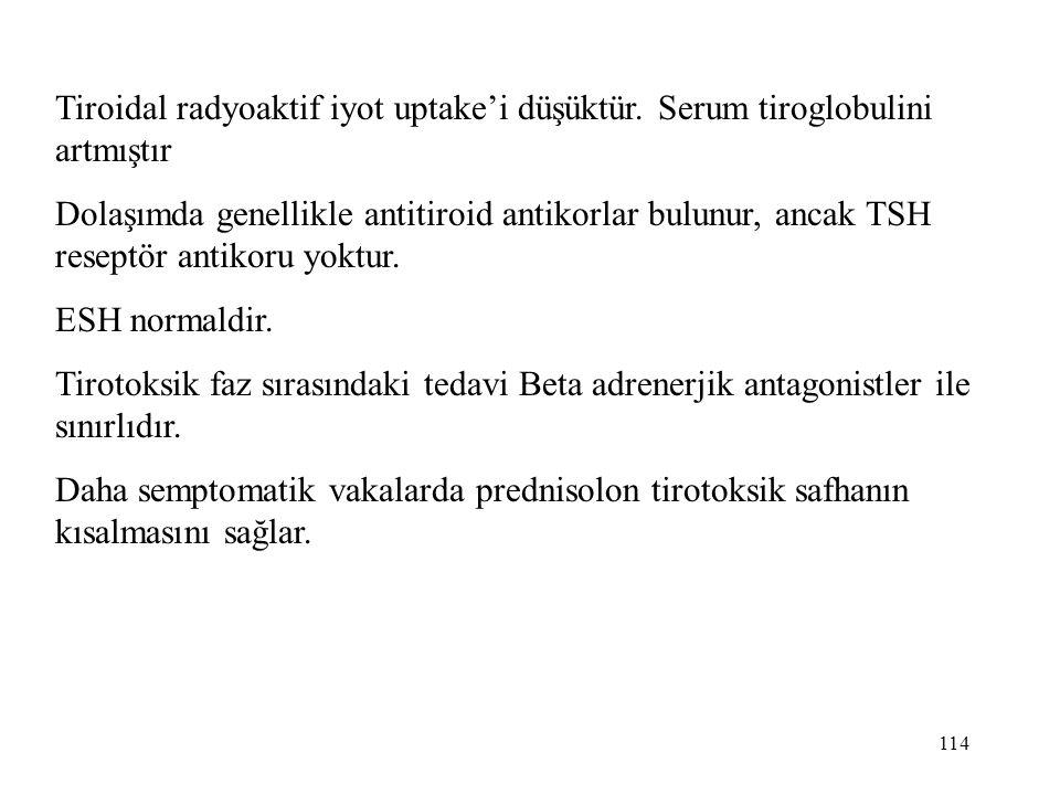 114 Tiroidal radyoaktif iyot uptake'i düşüktür. Serum tiroglobulini artmıştır Dolaşımda genellikle antitiroid antikorlar bulunur, ancak TSH reseptör a