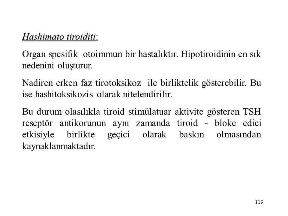 119 Hashimato tiroiditi Hashimato tiroiditi: Organ spesifik otoimmun bir hastalıktır. Hipotiroidinin en sık nedenini oluşturur. Nadiren erken faz tiro