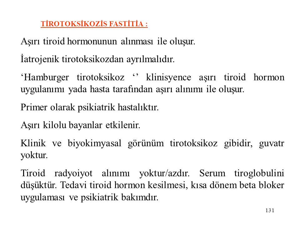 131 TİROTOKSİKOZİS FASTİTİA : Aşırı tiroid hormonunun alınması ile oluşur. İatrojenik tirotoksikozdan ayrılmalıdır. 'Hamburger tirotoksikoz '' klinisy
