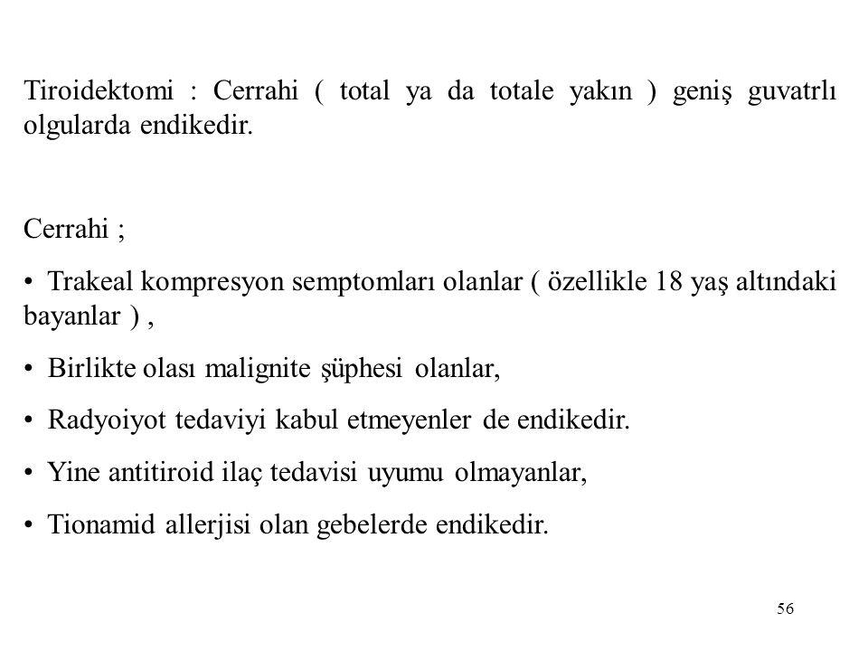 56 Tiroidektomi : Cerrahi ( total ya da totale yakın ) geniş guvatrlı olgularda endikedir. Cerrahi ; • Trakeal kompresyon semptomları olanlar ( özelli