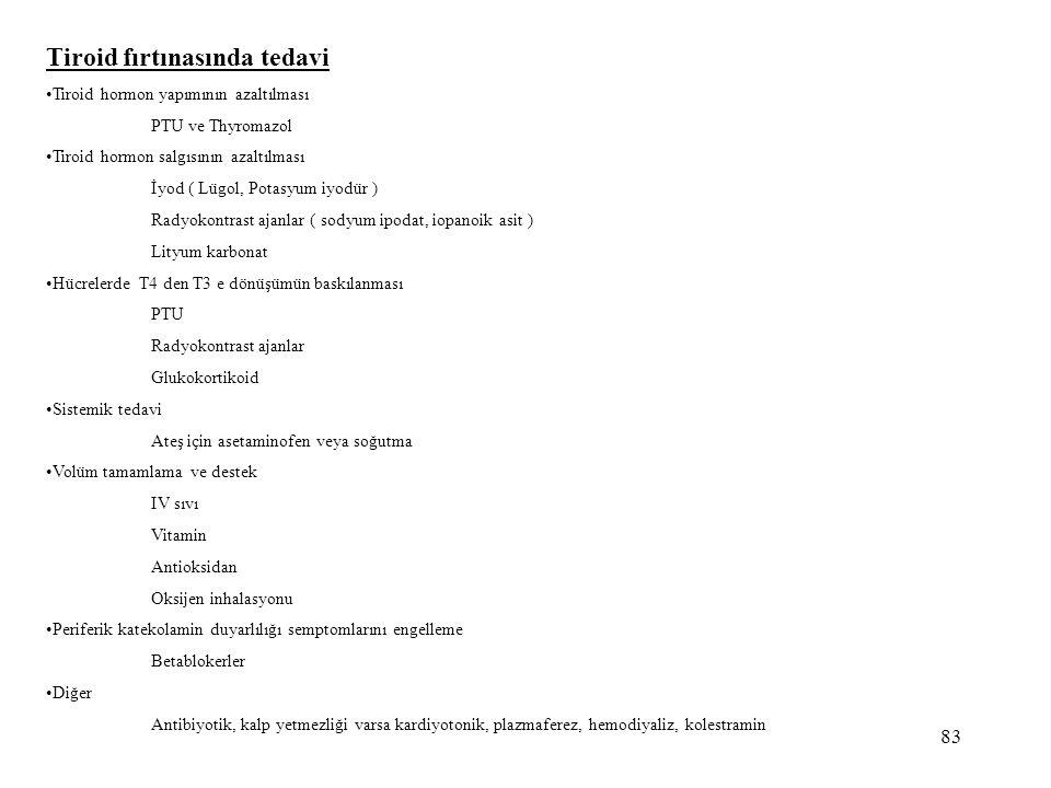 83 Tiroid fırtınasında tedavi •Tiroid hormon yapımının azaltılması PTU ve Thyromazol •Tiroid hormon salgısının azaltılması İyod ( Lügol, Potasyum iyod