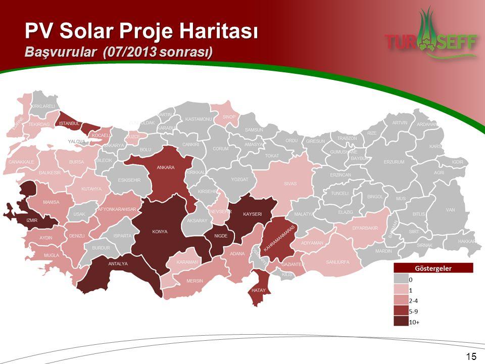 PV Solar Proje Haritası 15 Başvurular (07/2013 sonrası)
