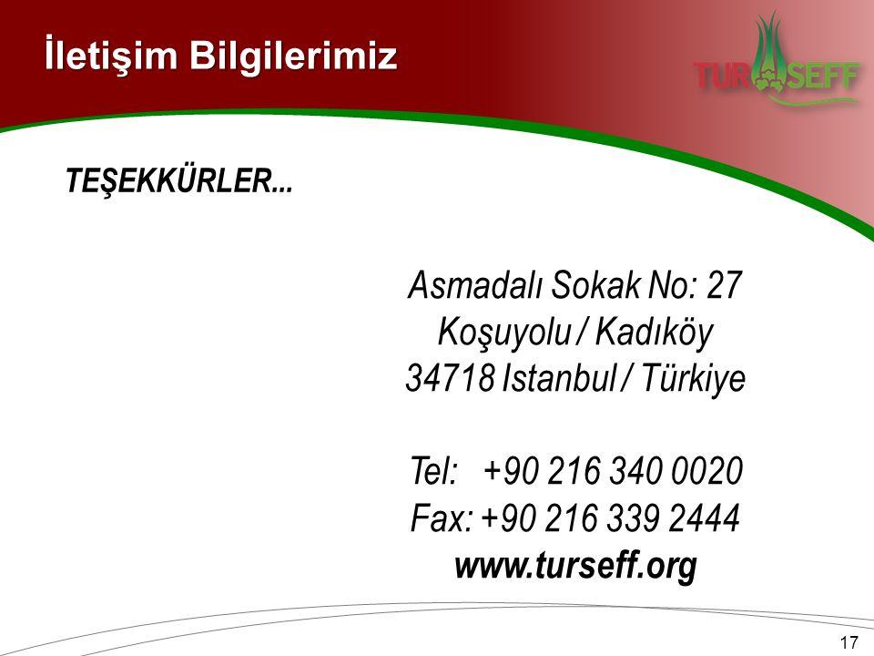 İletişim Bilgilerimiz Asmadalı Sokak No: 27 Koşuyolu / Kadıköy 34718 Istanbul / Türkiye Tel: +90 216 340 0020 Fax: +90 216 339 2444 www.turseff.org 17 TEŞEKKÜRLER...