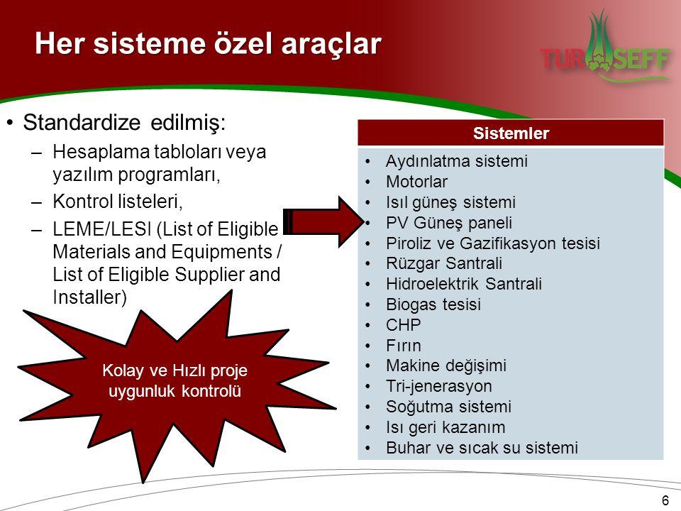 Sistemler •Aydınlatma sistemi •Motorlar •Isıl güneş sistemi •PV Güneş paneli •Piroliz ve Gazifikasyon tesisi •Rüzgar Santrali •Hidroelektrik Santrali •Biogas tesisi •CHP •Fırın •Makine değişimi •Tri-jenerasyon •Soğutma sistemi •Isı geri kazanım •Buhar ve sıcak su sistemi •Standardize edilmiş: –Hesaplama tabloları veya yazılım programları, –Kontrol listeleri, –LEME/LESI (List of Eligible Materials and Equipments / List of Eligible Supplier and Installer) Kolay ve Hızlı proje uygunluk kontrolü 6 Her sisteme özel araçlar