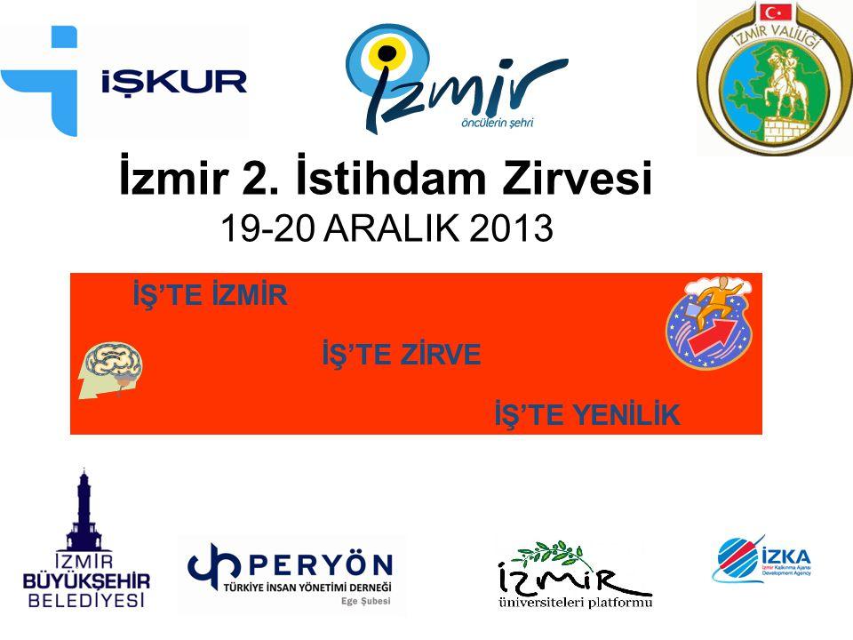 İzmir 2. İstihdam Zirvesi 19-20 ARALIK 2013 İŞ'TE İZMİR İŞ'TE ZİRVE İŞ'TE YENİLİK