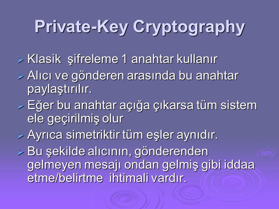Private-Key Cryptography  Klasik şifreleme 1 anahtar kullanır  Alıcı ve gönderen arasında bu anahtar paylaştırılır.