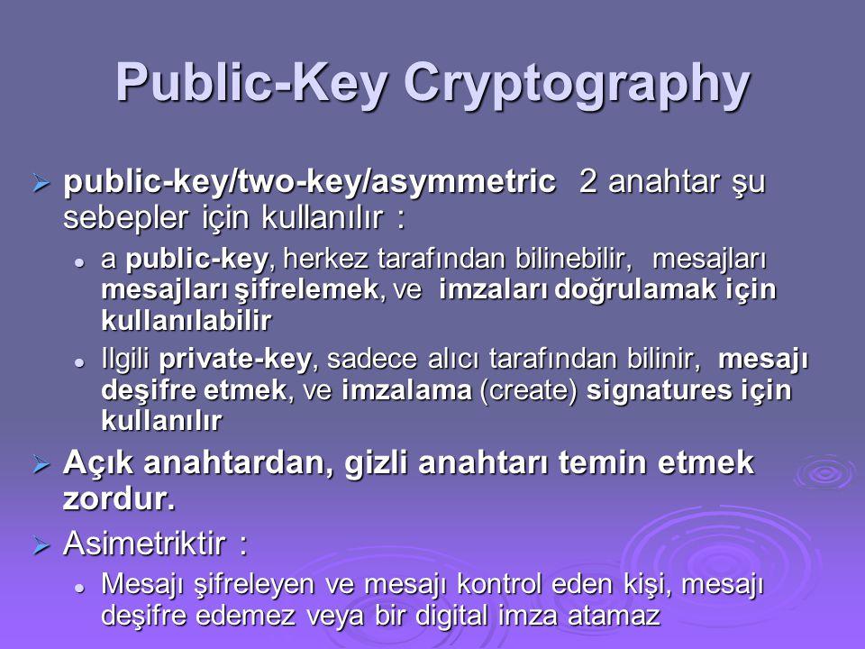 Public-Key Cryptography  public-key/two-key/asymmetric 2 anahtar şu sebepler için kullanılır :  a public-key, herkez tarafından bilinebilir, mesajları mesajları şifrelemek, ve imzaları doğrulamak için kullanılabilir  Ilgili private-key, sadece alıcı tarafından bilinir, mesajı deşifre etmek, ve imzalama (create) signatures için kullanılır  Açık anahtardan, gizli anahtarı temin etmek zordur.