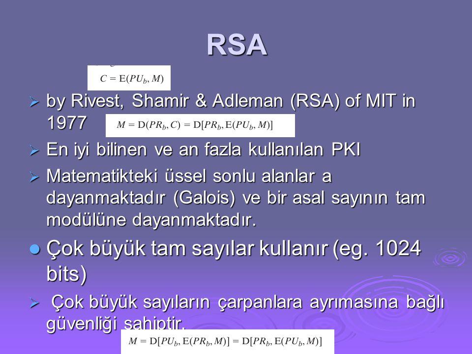 RSA  by Rivest, Shamir & Adleman (RSA) of MIT in 1977  En iyi bilinen ve an fazla kullanılan PKI  Matematikteki üssel sonlu alanlar a dayanmaktadır (Galois) ve bir asal sayının tam modülüne dayanmaktadır.