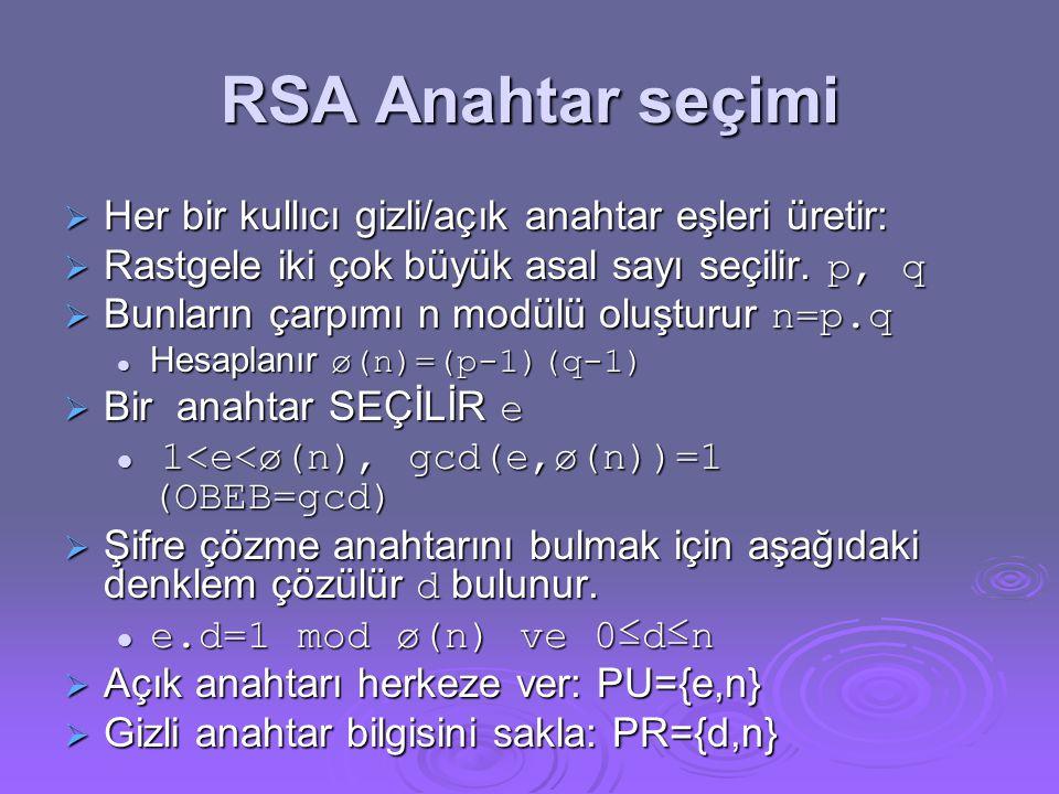 RSA Anahtar seçimi  Her bir kullıcı gizli/açık anahtar eşleri üretir:  Rastgele iki çok büyük asal sayı seçilir.