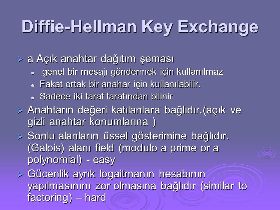 Diffie-Hellman Key Exchange  a Açık anahtar dağıtım şeması  genel bir mesajı göndermek için kullanılmaz  Fakat ortak bir anahar için kullanılabilir.