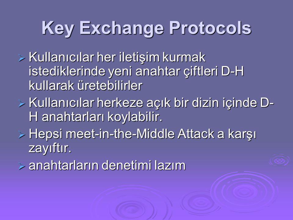 Key Exchange Protocols  Kullanıcılar her iletişim kurmak istediklerinde yeni anahtar çiftleri D-H kullarak üretebilirler  Kullanıcılar herkeze açık bir dizin içinde D- H anahtarları koylabilir.